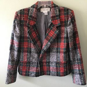 carlisle plaid wool blazer jacket